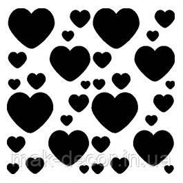 Виниловая интерьерная наклейка - набор сердечек