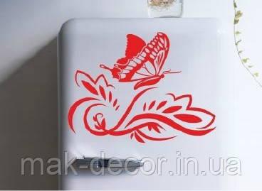 Виниловая наклейка на холодильник -узор и бабочка