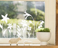 Виниловая интерьерная наклейка - Весняні квіти на вікно 40х60 см