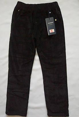 Детские вельветовые брюки на флисе, талия на резинке 128р
