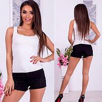 Женские шорты джинсовые с бусинками черные, белые, фото 1