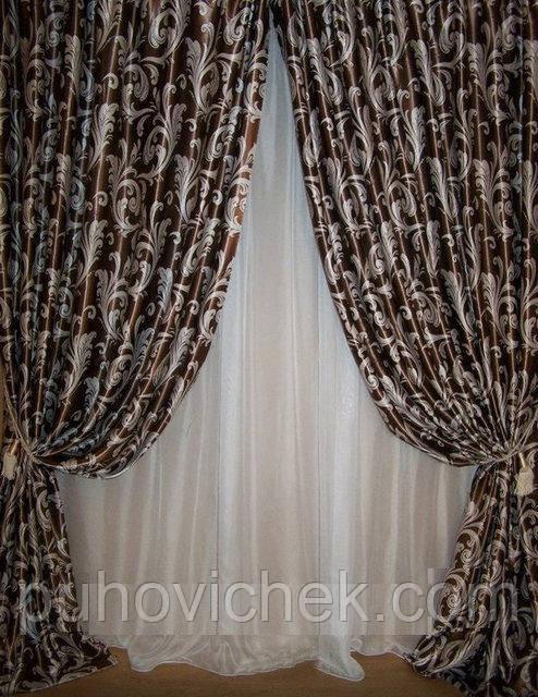 Готовые шторы в гостиную шоколадный цвет