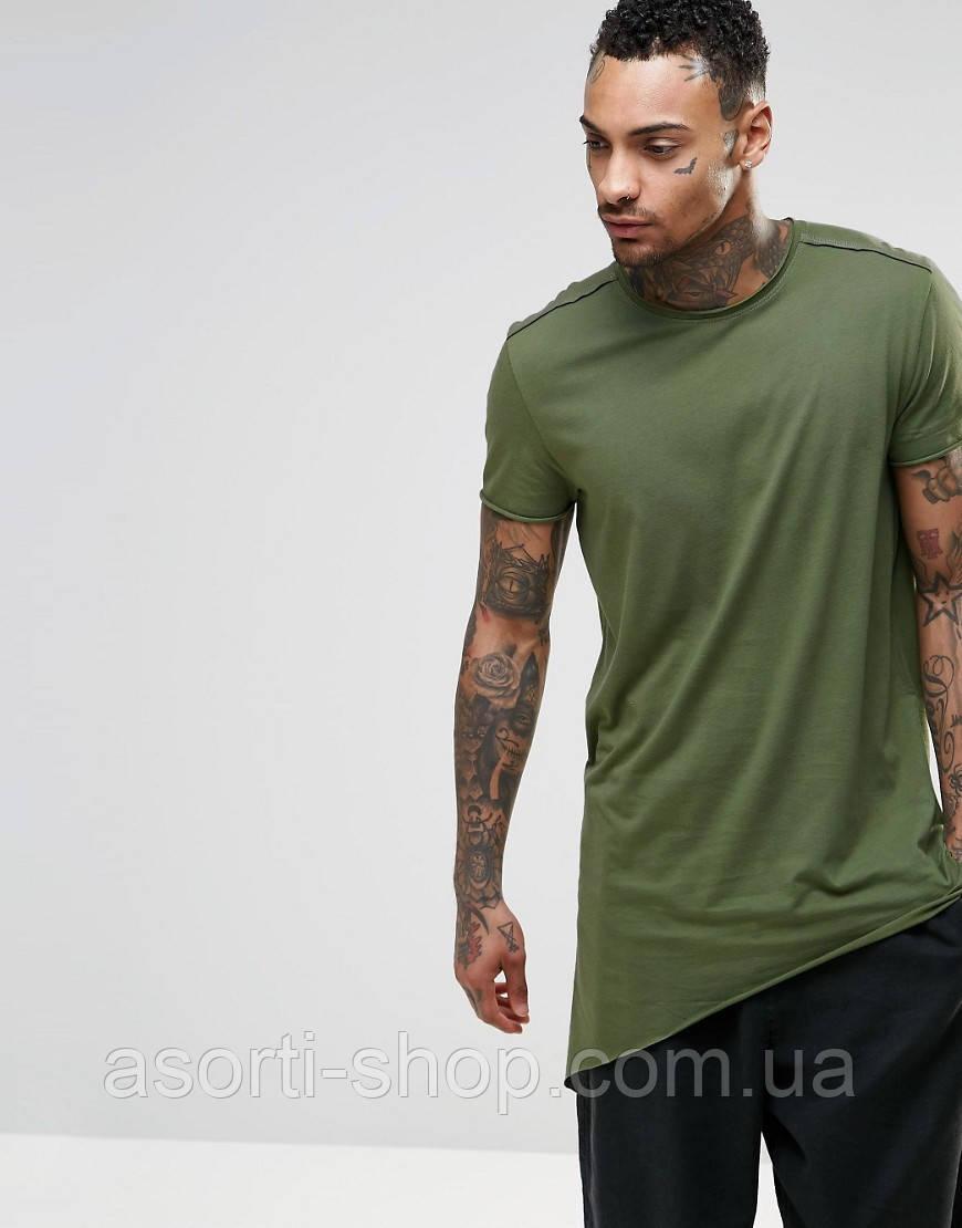 c42415ddd528e Мужская длинная зеленая ассиметричная футболка S, цена 386 грн., купить в  Киеве — Prom.ua (ID#712556378)