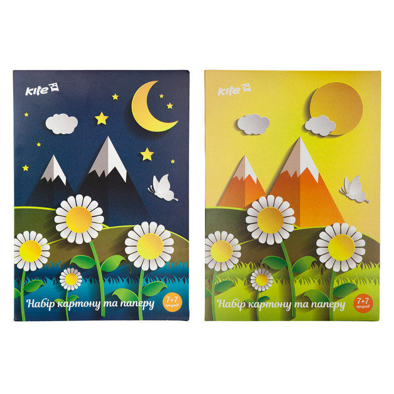 Набор бумаги и картона A4 (7+7), папка, Kite