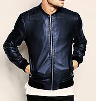Классическая мужская синяя куртка бомбер из эко-кожи