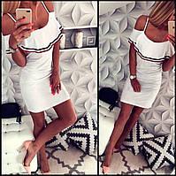 Белое платье сарафан с воланом Lily (Код 151)