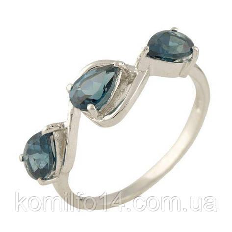 Серебряное кольцо с натуральным лондон топазом, фото 2