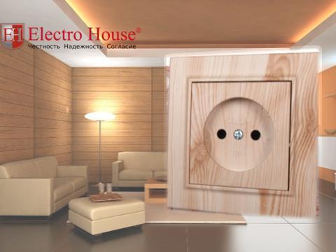Розетка одинарная без заземления светлое дерево Enzo Electro House