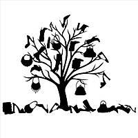 Виниловая интерьерная наклейка -дерево из вещей