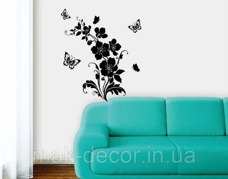 Вінілова інтер'єрна наклейка -візерунок квітка метелики 00 (ціна за розмір 100*50 см)
