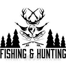 Виниловая наклейка - fishing hunting (цена за размер 25х35 см)