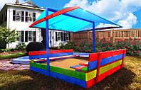 Деревянная песочница с крышей и лавочками для детей 150 х 154 см, фото 1