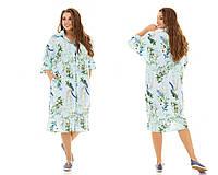 Модное женское платье-рубашка ткань софт  больших размеров , фото 1