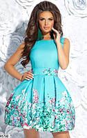Красивое платье короткое пышное без рукав с фатиновым подъюбником мелкие цветы мятное