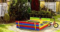 Деревянная песочница с лавочками для детей 120 х 120 см, фото 1
