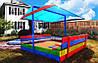Деревянная песочница с крышей и лавочками для детей 150 х 154 см