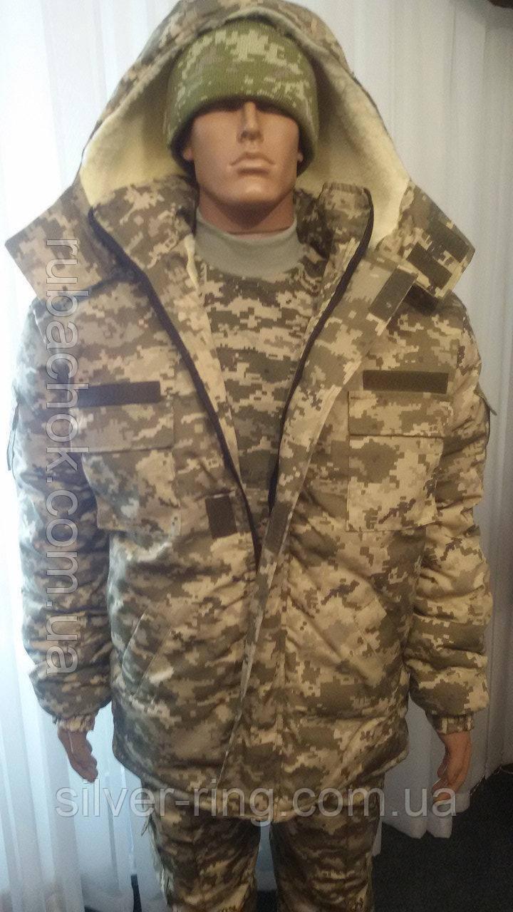 Комплект армейский светлый пиксель утепленный (ВСУ), бушлат на евроовчине + штаны на флисовой подкладке.