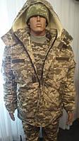 Комплект армейский светлый пиксель утепленный (ВСУ), бушлат на евроовчине + штаны на флисовой подкладке., фото 1