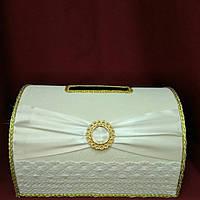 Сундучек для сбора денег на свадьбе, денежная казна, бело-золотая