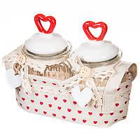 Набір для спецій та соусу в тканинній кошику, фото 1