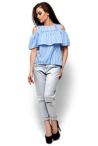Женская блуза с воланом в голубую полоску Karree Каир