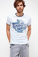 Белая мужская футболка De Facto / Де Факто в синюю полоску с мотоциклом