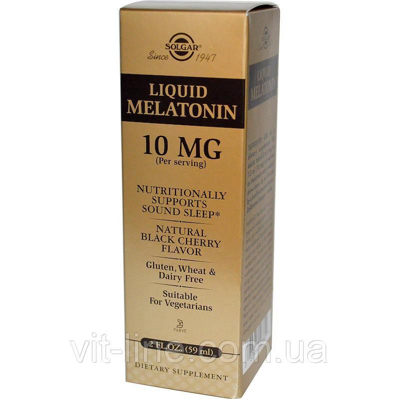 Solgar, Liquid Melatonin, 10mg. Жидкий мелатонин