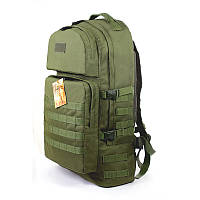 Тактический армейский туристический крепкий рюкзак 60 литров олива, фото 1
