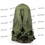 Тактический армейский туристический крепкий рюкзак 60 литров олива, фото 4