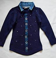 Детская вязаная туника с джинсовым воротником  116-122р
