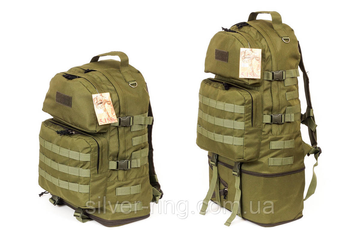 Тактический туристический супер-крепкий рюкзак трансформер 40-60 литров олива
