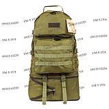 Тактический туристический супер-крепкий рюкзак трансформер 40-60 литров олива, фото 3