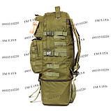 Тактический туристический супер-крепкий рюкзак трансформер 40-60 литров олива, фото 4