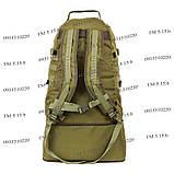 Тактический туристический супер-крепкий рюкзак трансформер 40-60 литров олива, фото 5