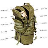Тактический туристический супер-крепкий рюкзак трансформер 40-60 литров олива, фото 7