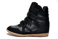 Кроссовки на платформе Isabel marant черные на меху