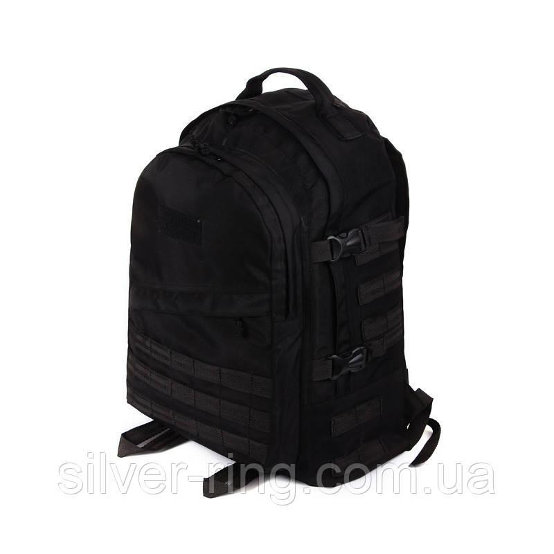 Тактический походный супер-крепкий рюкзак с органайзером 40 литров чёрный
