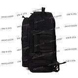 Тактический походный супер-крепкий рюкзак с органайзером 40 литров чёрный, фото 3