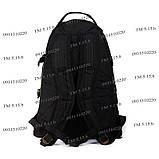 Тактический походный супер-крепкий рюкзак с органайзером 40 литров чёрный, фото 4