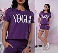Костюм женский Vogue футболка и шорты с декоративными разрезами Dch970, фото 1