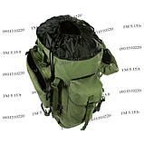 Туристический армейский крепкий рюкзак на 75 литров олива, фото 5