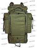 Тактический туристический армейский супер-крепкий рюкзак на 105 литров олива, фото 2