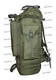 Тактический туристический армейский супер-крепкий рюкзак на 105 литров олива, фото 4