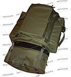 Тактический туристический армейский супер-крепкий рюкзак на 105 литров олива, фото 7