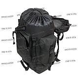 Туристический армейский супер-крепкий рюкзак 75 л. с ортопедической пластиной. Чёрный 1200 Нейлон, фото 5
