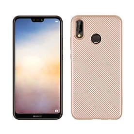 Чехол накладка для Huawei P20 Lite силиконовый, Carbon i-Zore, золотистый