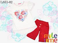 Костюм  для девочки шорты и футболка р.110,122 SmileTime Flower Heart, красный, фото 1