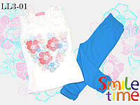 Костюм майка и капри для девочки р.104,110,116,122,128,134,140 SmileTime Flower Heart, бирюзовый