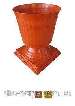 """Вазон для цветов на ножке """"Хризантема"""" диаметр 21 см высота 26 см,белый"""