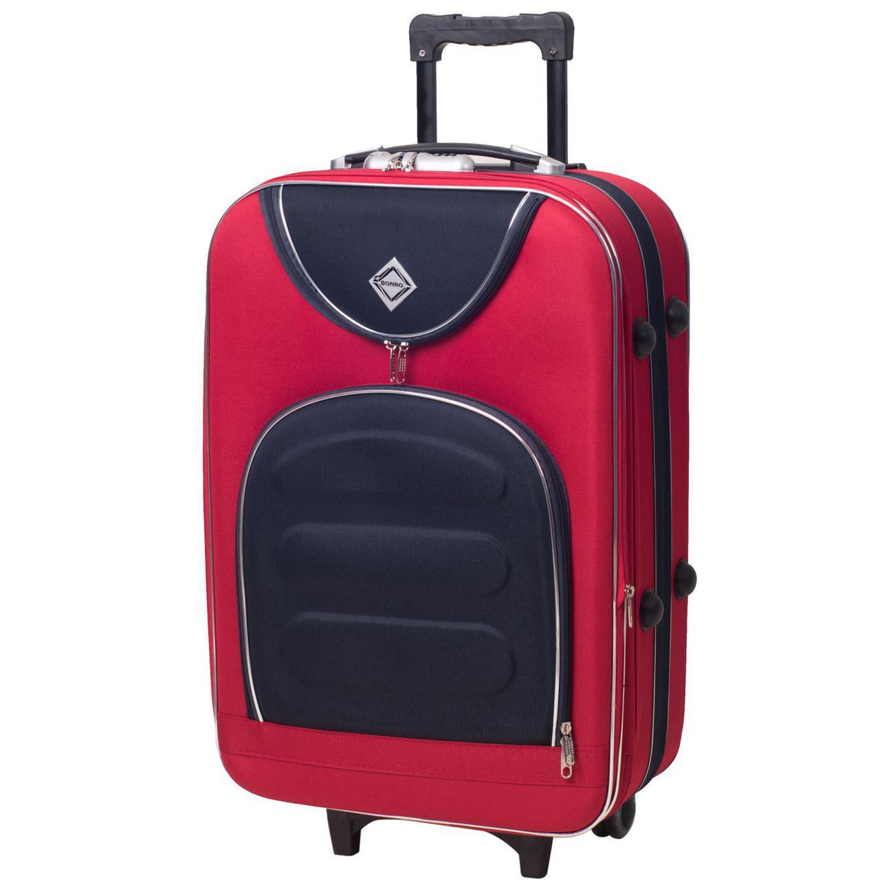 Дорожный чемодан на колесах Bonro Lux Красный-темно-синий Средний
